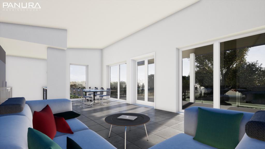 Olohuone keittiö moderni vaalea tumma sisustus 3d havainne parveke
